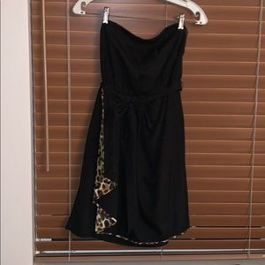 Black strapless with leopard print